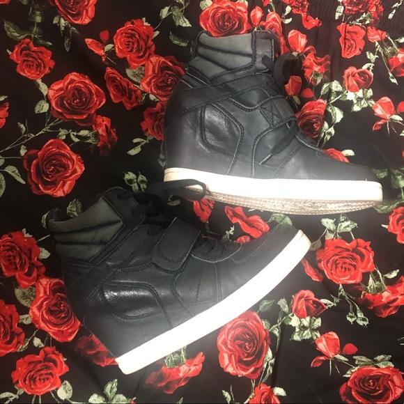 ASN black leather wedge sneakers